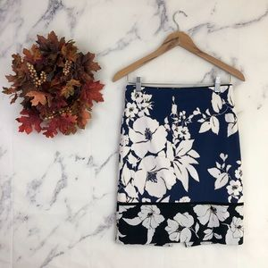 WHBM Floral Colorblock Pencil Skirt